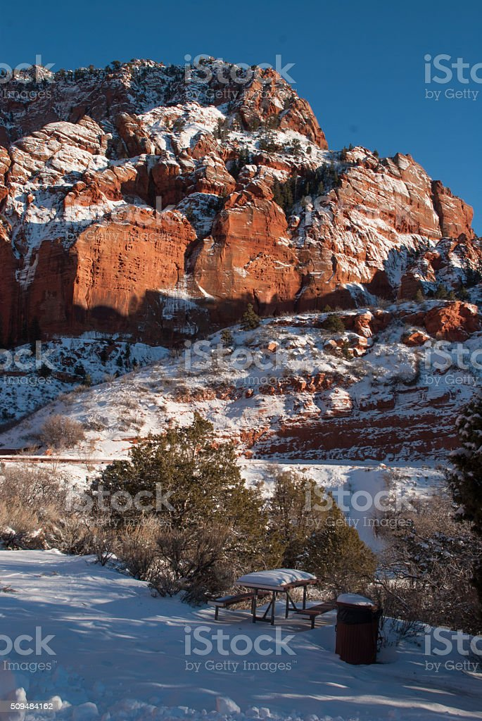 rock outcrops picnic table Kolob Canyon Zion National Park Utah stock photo