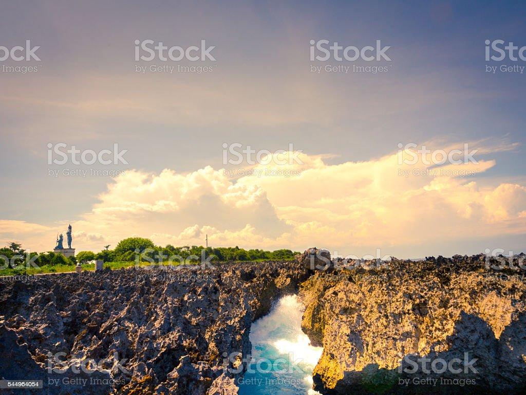 Rock Overlay in Nusa Dua Beach, Bali stock photo