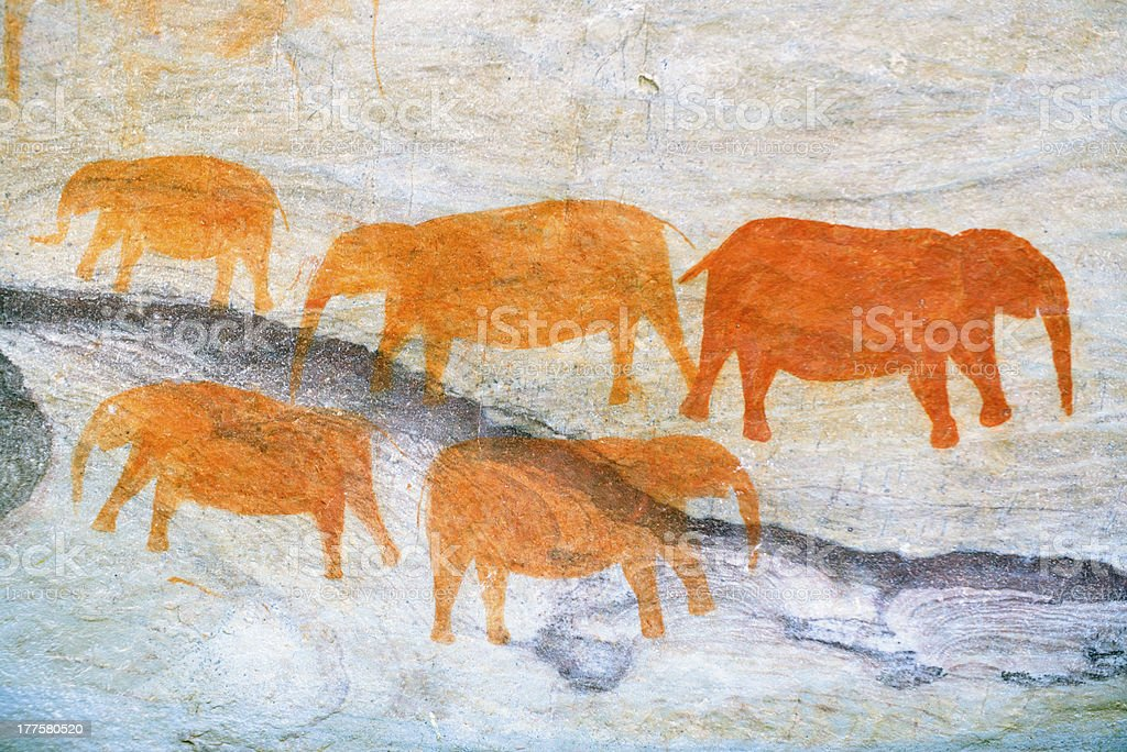 Rock Painting Depicting Animals royalty-free stock photo