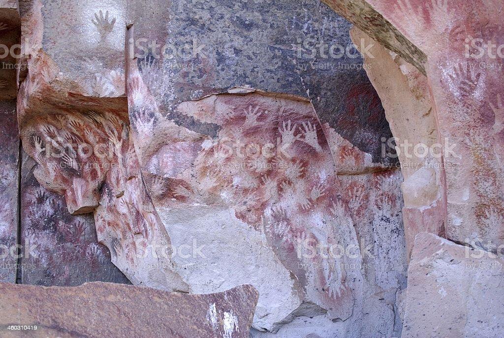 Rock paintings in Patagonia stock photo
