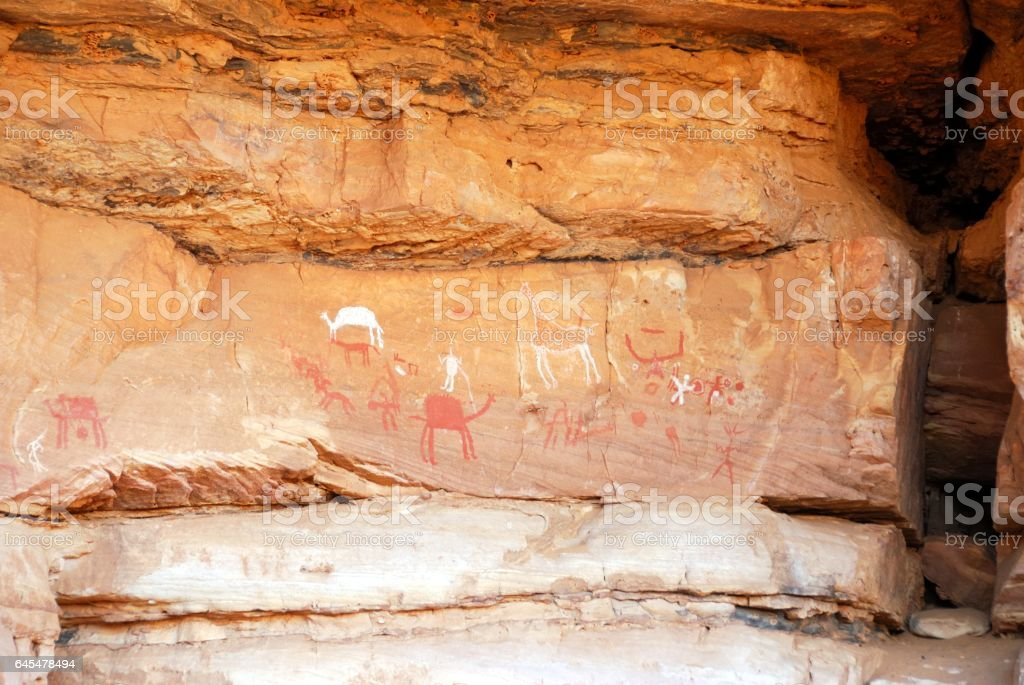 Rock paintings, Libya stock photo