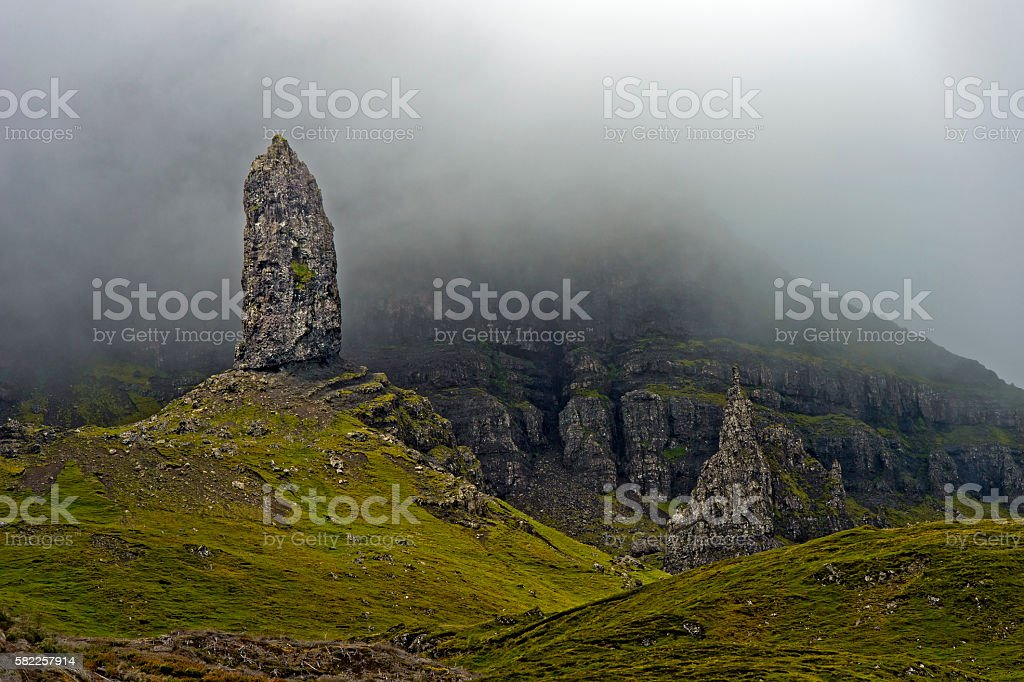 Rock pinnacle The Old Man of Storr stock photo