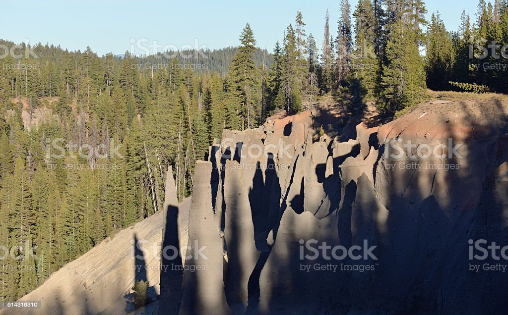 Rock pinnacles of volcanic tuff, Oregon, USA stock photo