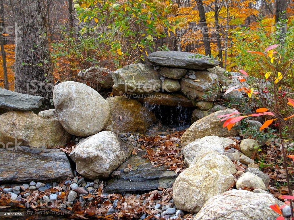 Rock Pond in Autumn stock photo