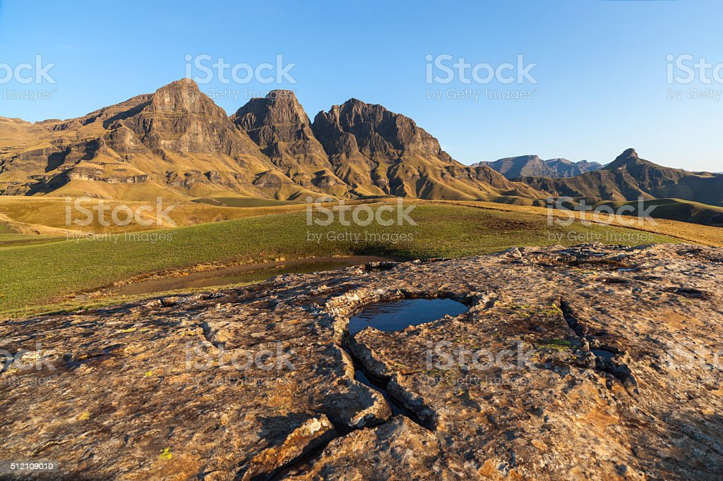 Rock Pool and Peaks stock photo