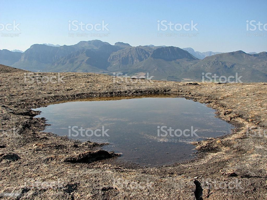 Rock pool overlooking the Hottentot-Hollands mountains stock photo