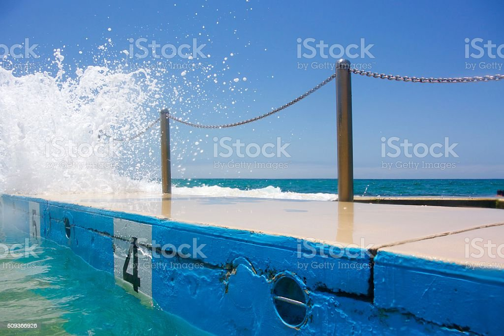 Rock pool with wave stock photo