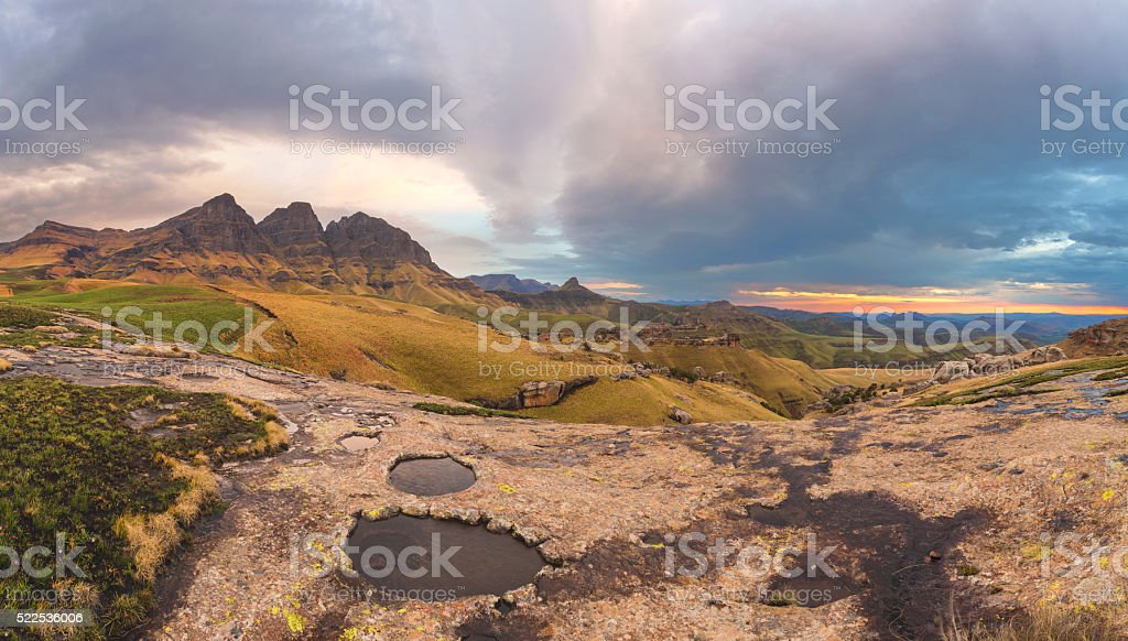Rock Pools and the Peaks stock photo