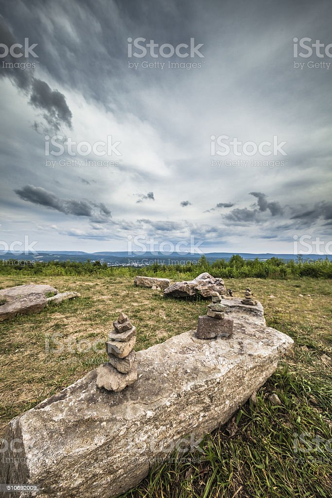 Rock pyramids at Flagstaff Mountain Park, Carbon County, Pennsylvania stock photo