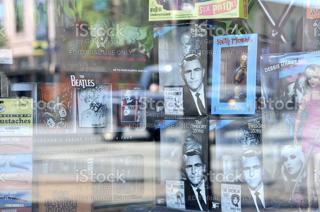 Rock & Roll gift store window display. stock photo