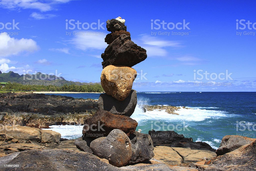 Rock sculpture on Hawaii coastline royalty-free stock photo