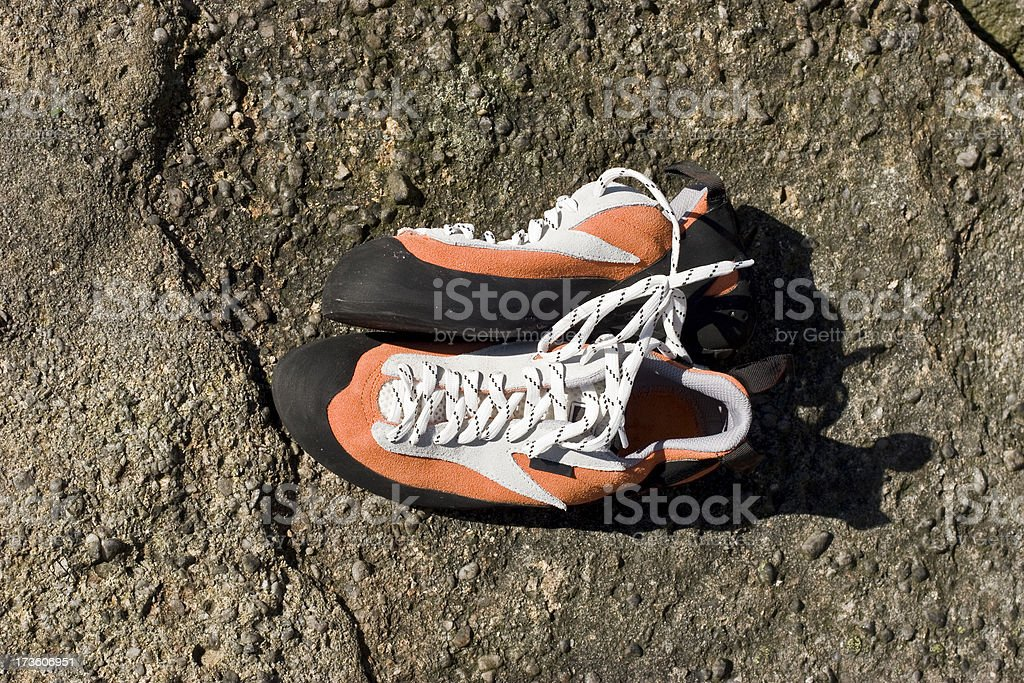 Rock shoes for climbing stock photo