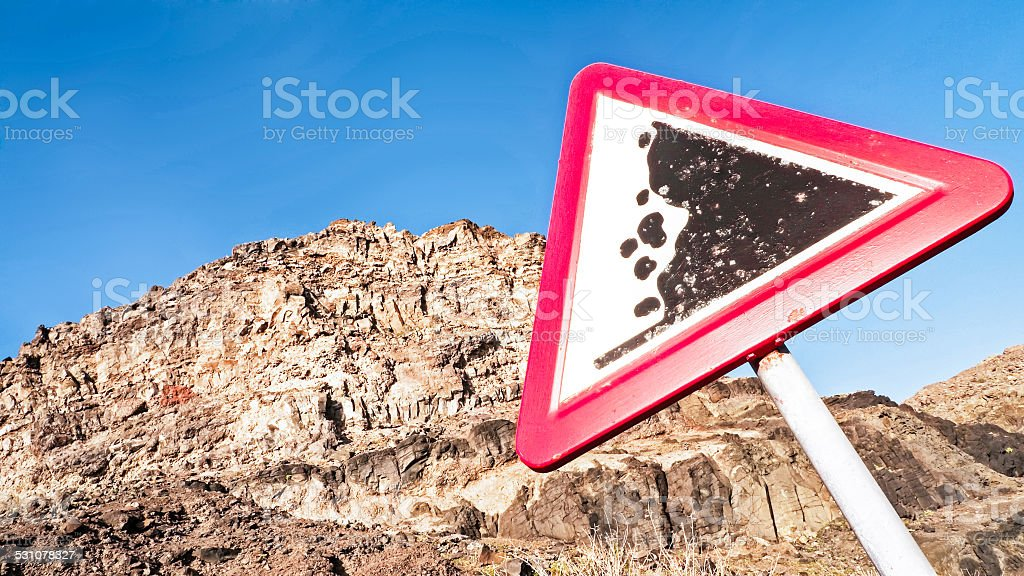 rock slide sign stock photo