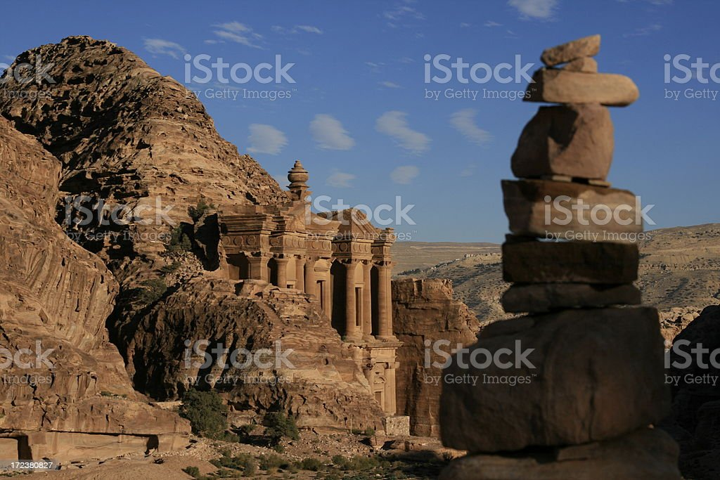Rock stack at the Monastery in Petra, Jordan stock photo