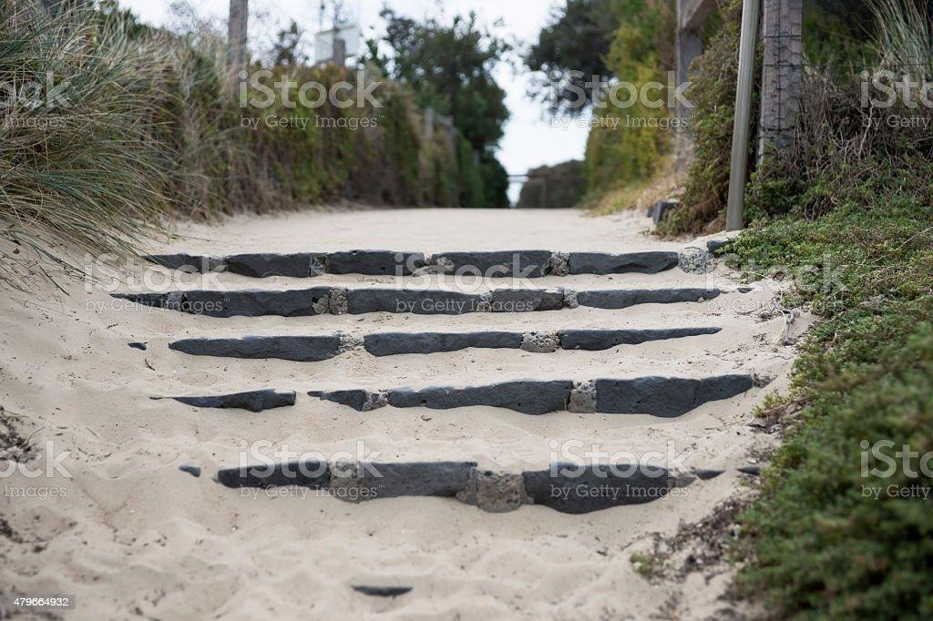 Rock stairway to Brighton Bathing Box Beach stock photo