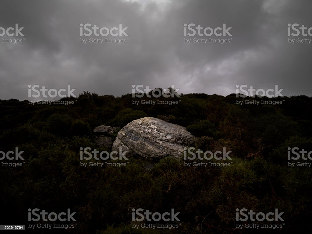 Rock standing alone in a field stock photo