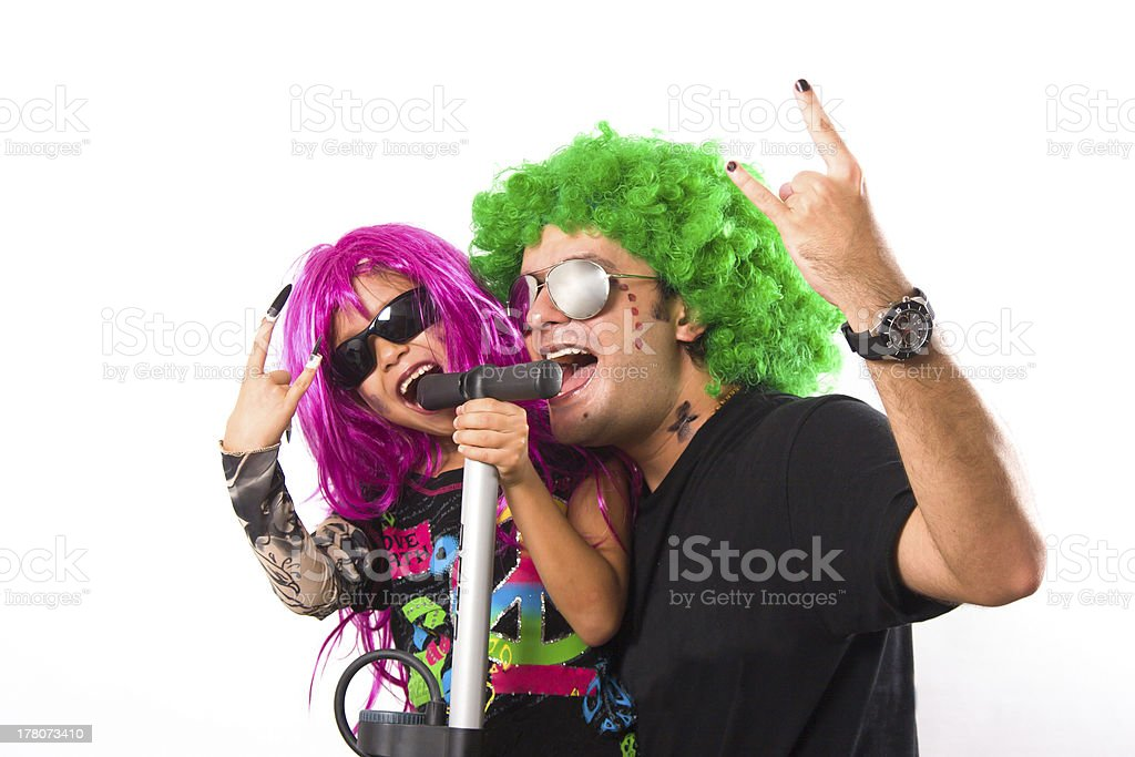 Rock Star  Father And Girl Singing royalty-free stock photo
