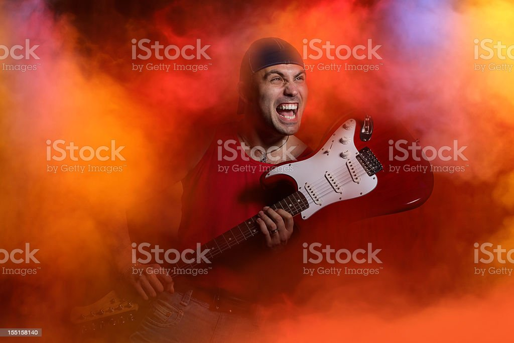 Rock star on stage royalty-free stock photo
