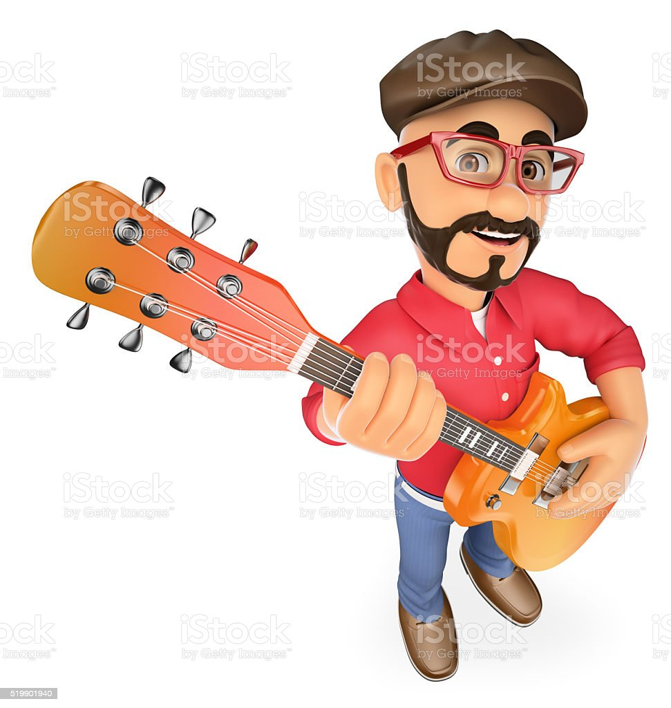 3D Rock star playing the guitar stock photo