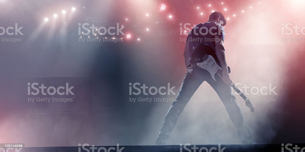 Rock Star with Guitar stock photo