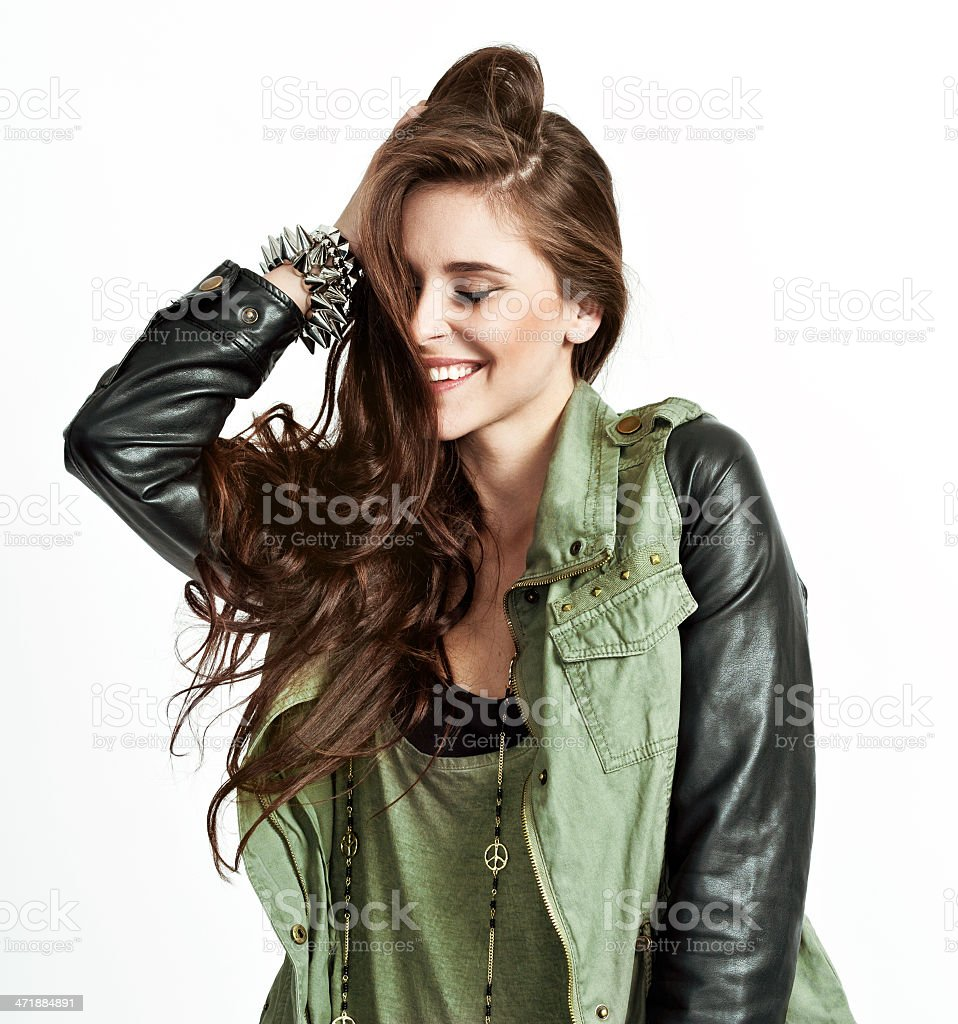 Rock Style Chick, Studio Portrait stock photo