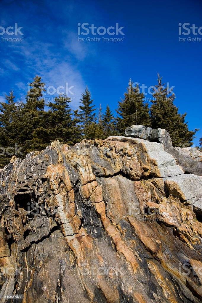 Rock texture of Maine coast stock photo