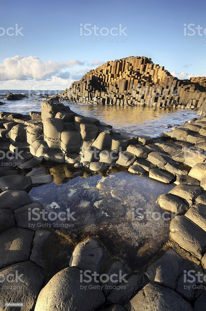 Rock textures and tidal pools at the Giant's Causeway stock photo