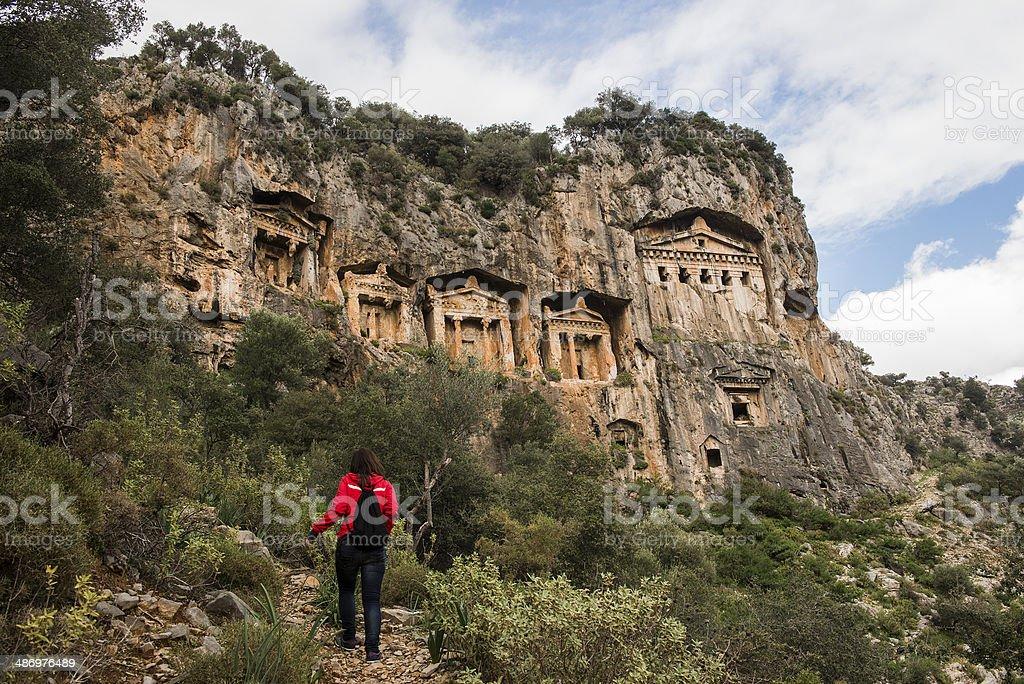 Rock tombs in Dalyan, Turkey stock photo