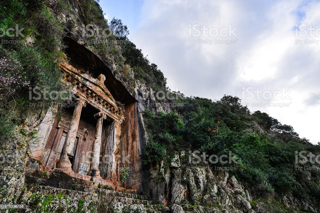 Rock Tombs in Fethiye, Turkey stock photo