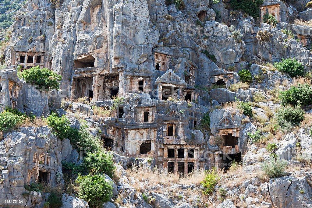 Rock tombs in Myra, Demre, Turkey stock photo