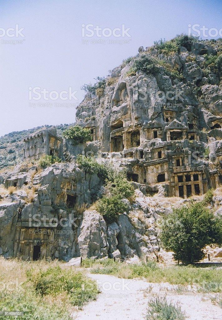 Rock tombs myra turkey royalty-free stock photo