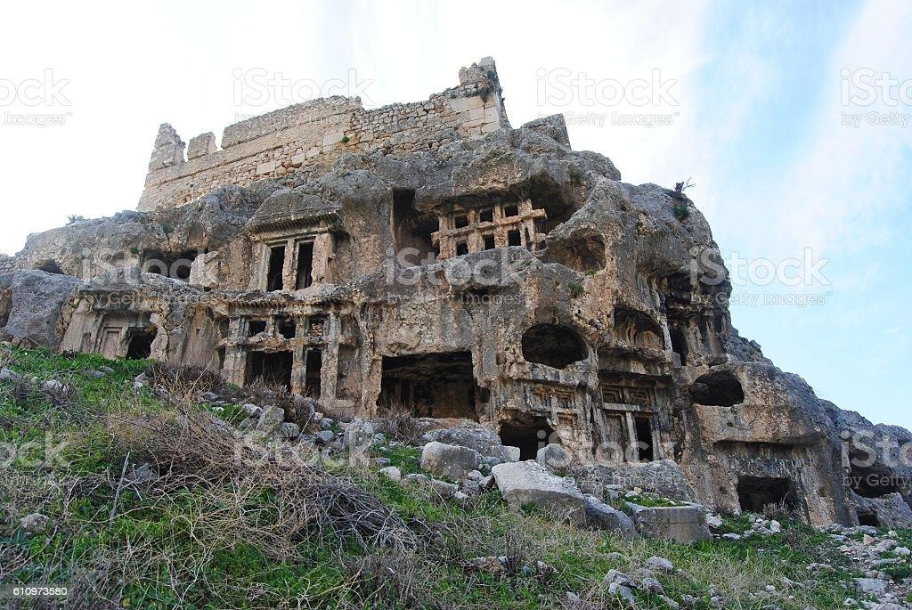 Rock tombs of Tlos in Turkey. stock photo