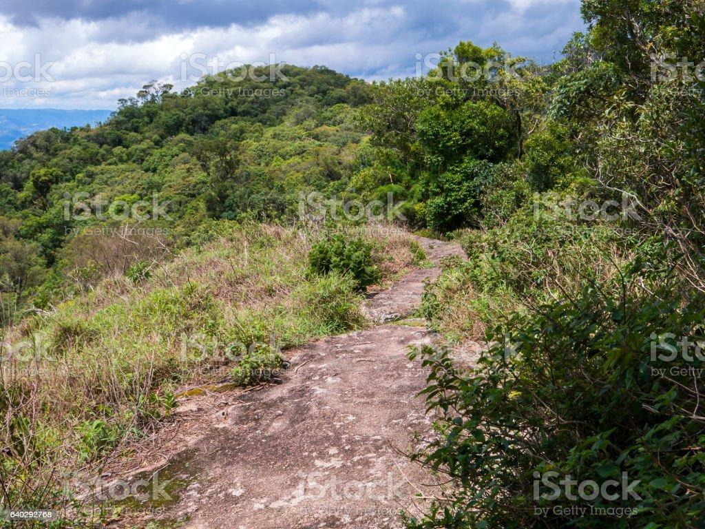 Rock trail in brazilian mountain stock photo
