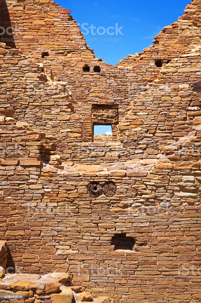 Rock Wall Background: Chaco Culture National Historical Park, New Mexico stock photo
