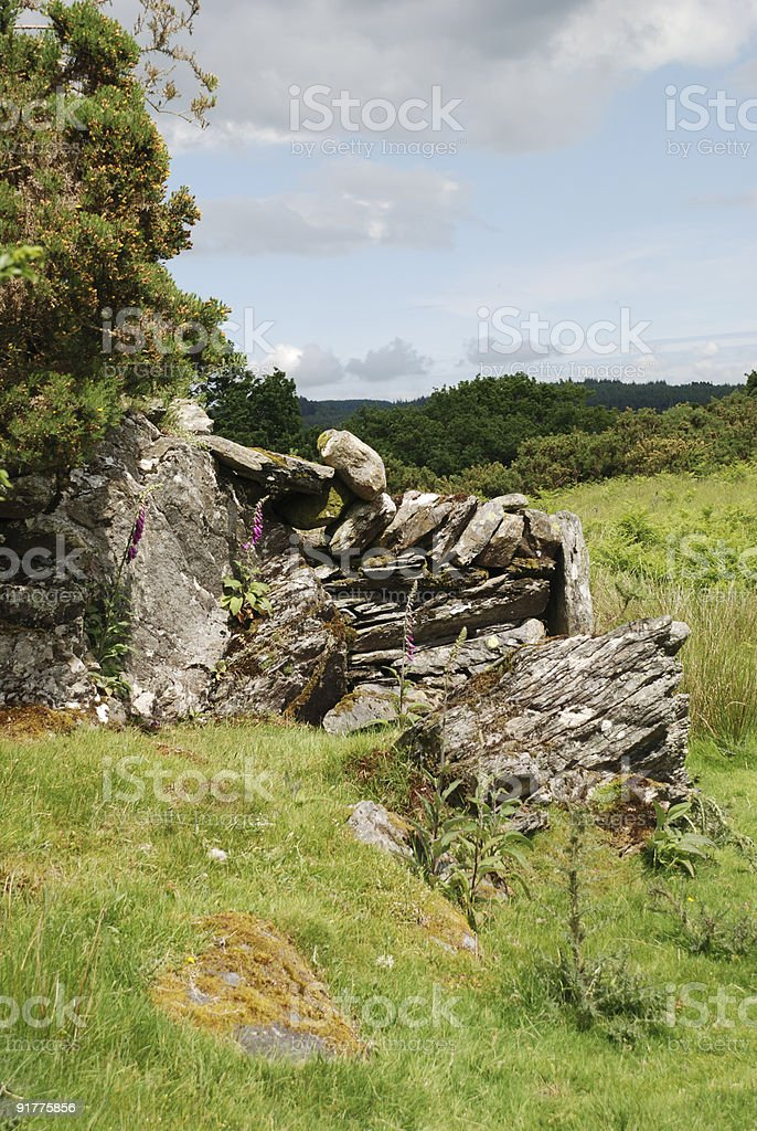 Rock Wall in Snowdonia, Wales royalty-free stock photo