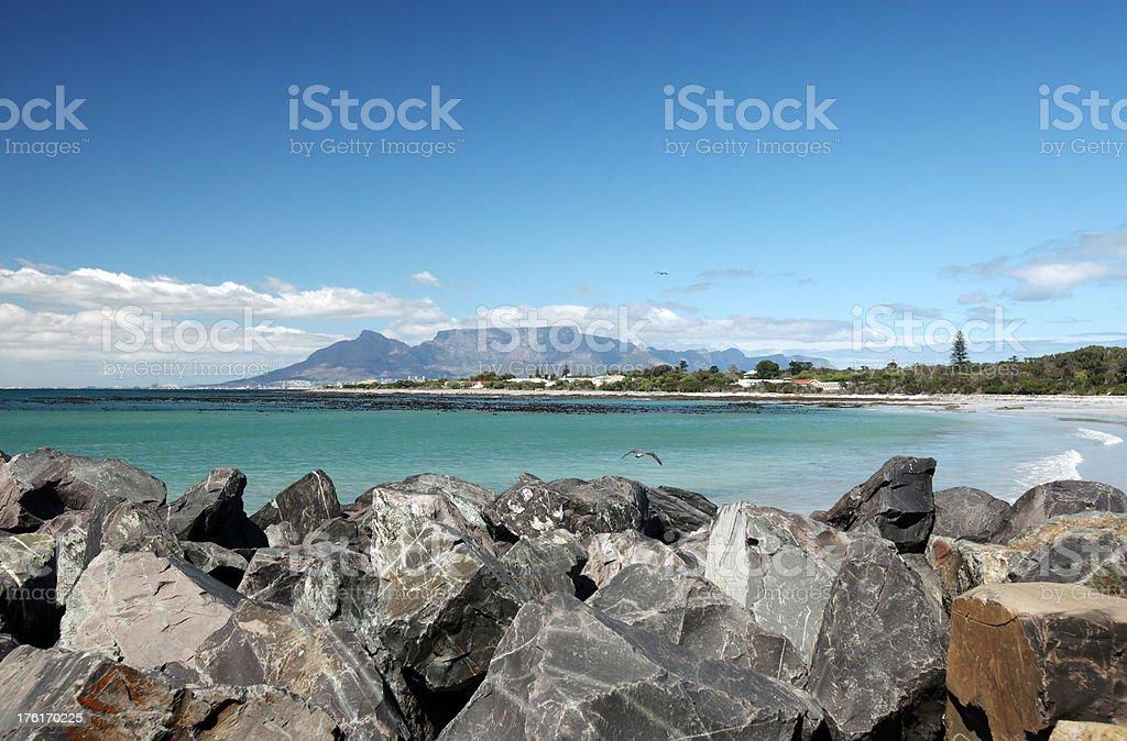 Rock Wall On Beach stock photo
