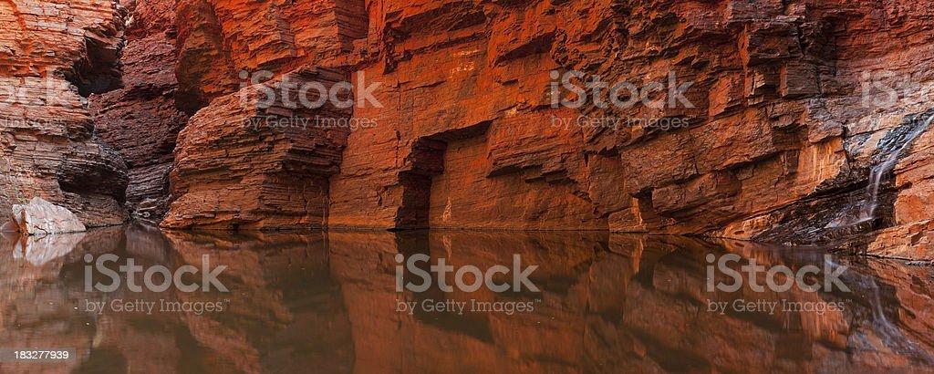 Rock wall reflections in a gorge, Karijini NP, Western Australia stock photo