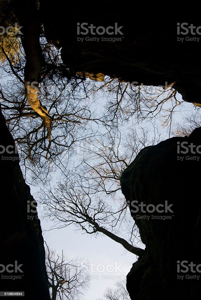 Rock walls of Teufelsschlucht canyon with sky and trees stock photo