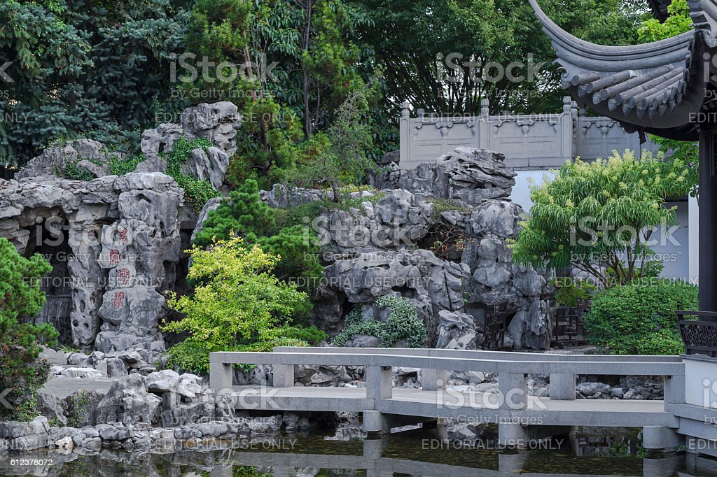 Rock Walls Path Roof Portland Oregon Lan Su Chinese Garden stock photo