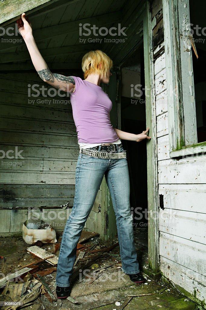 Rock Woman at Abandon Home royalty-free stock photo