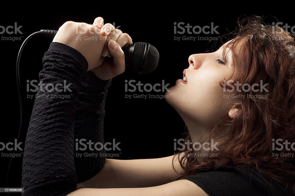 Rock Woman Singing Tenderly stock photo