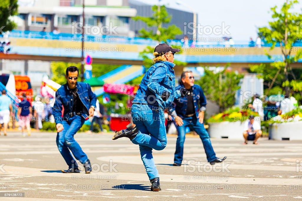 Rockabillly Gang Men Jeans Twist Dance Yoyogi Park stock photo