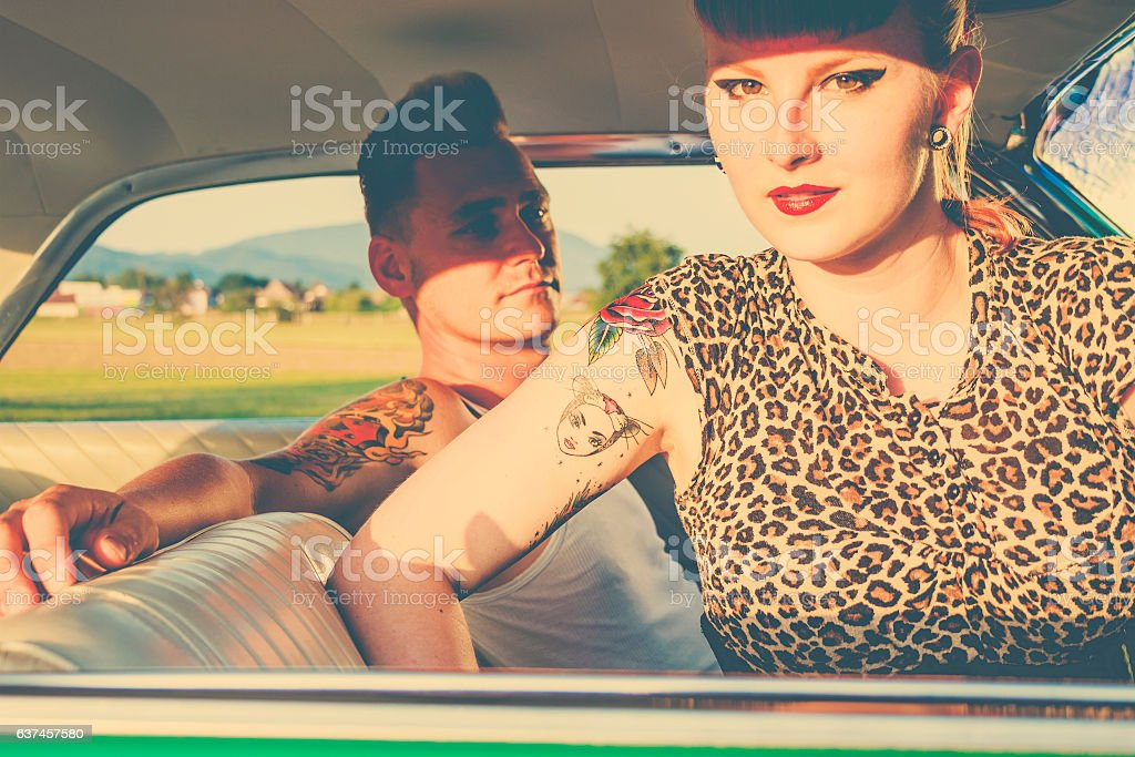 Rockabilly couple stock photo