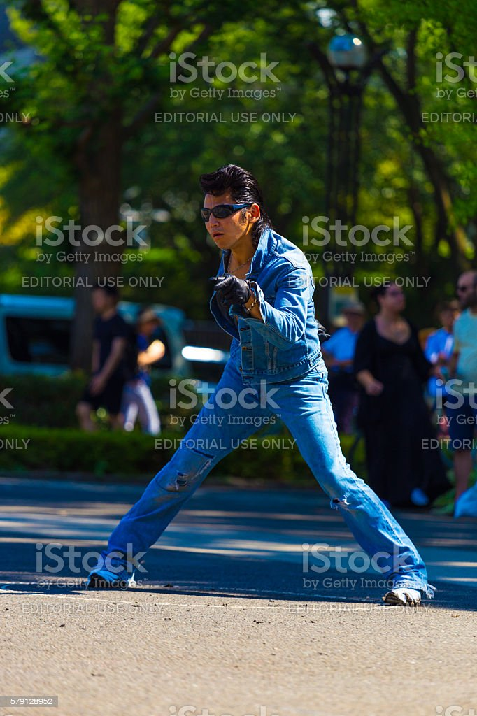 Rockabilly Dancing Man Pose Jean Yoyogi Park Tokyo stock photo