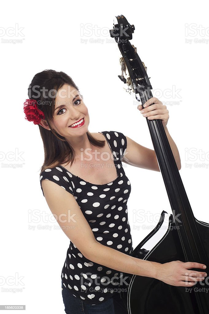 Rockabilly Girl Playing a Double Bass royalty-free stock photo