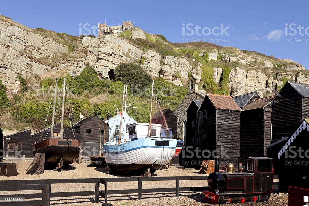 Rock-a-Nore area and Stade at Hastings, East Sussex, UK stock photo
