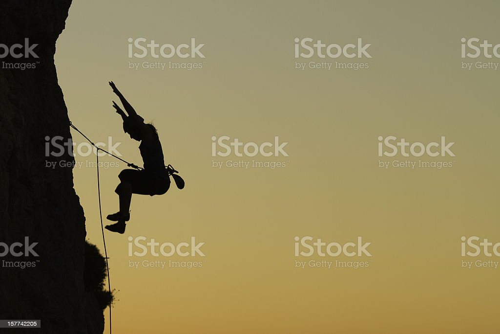Rockclimber Falling stock photo