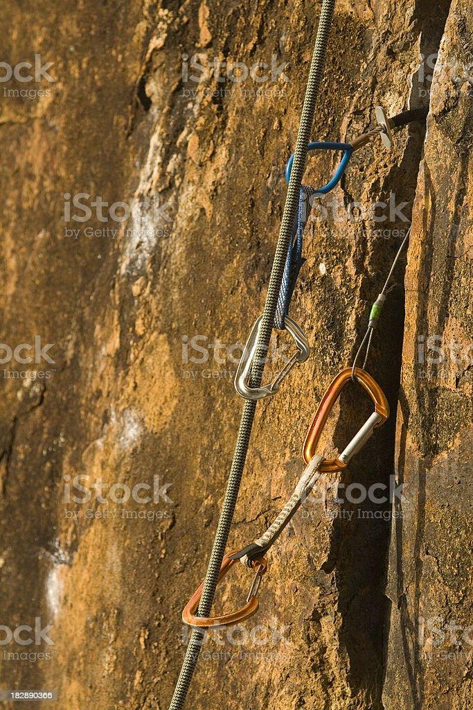 Rockclimbing gear stock photo