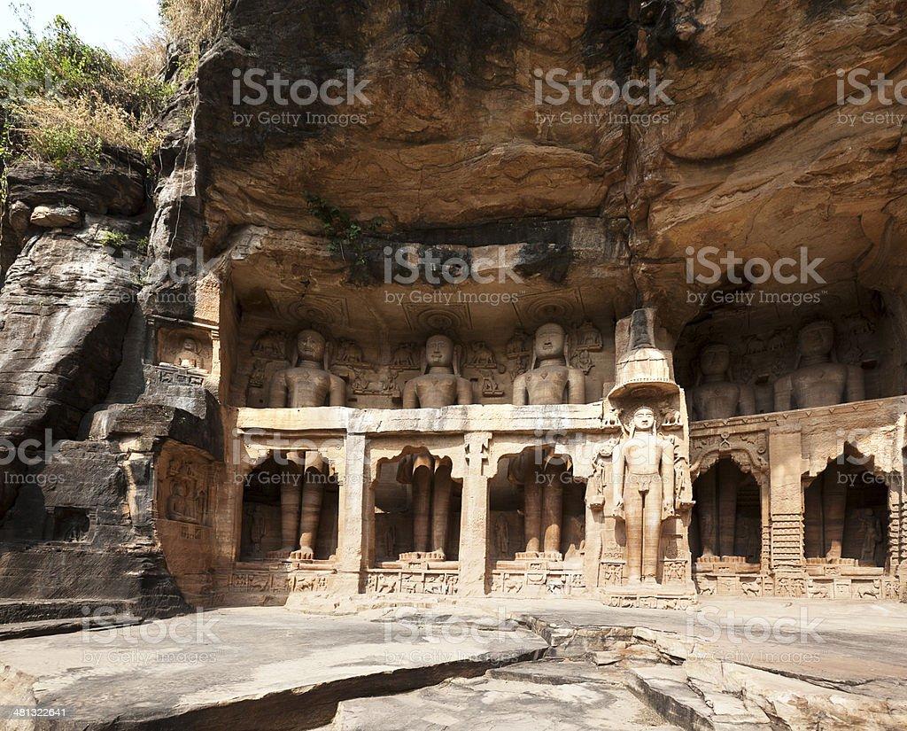 Rockcut Statues of Jain thirthankaras. Gwalior royalty-free stock photo