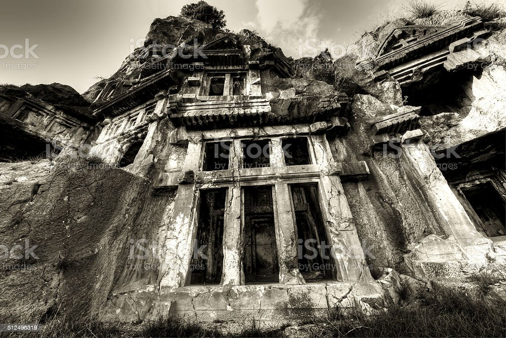 Rock-cut tombs of the ancient city of Myra royalty-free stock photo